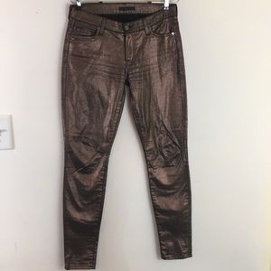7 for all mankind metallic copper women's jeans